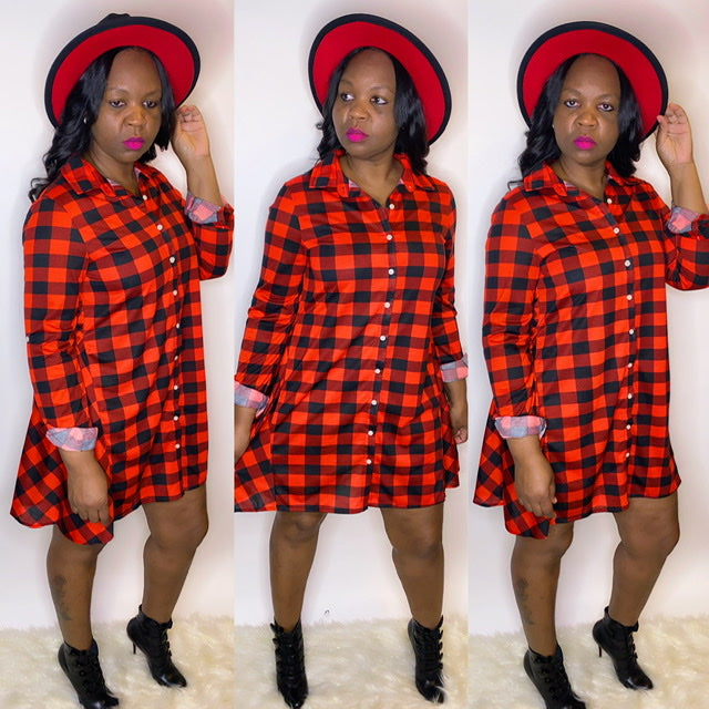 RED AND BLACK BUFFALO PLAID DRESS