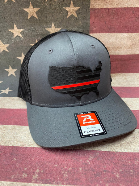 USA Thin Line Leather Patch Hat