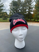 Embroidered Black with Red Stripe Beanie