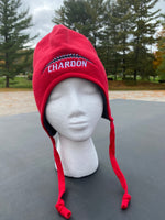 Embroidered Red Richardson Snow Hat with Chardon Football Logo