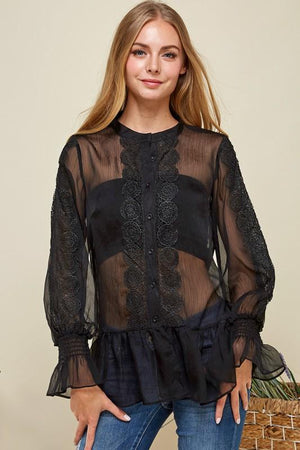 JJ'S Fairyland Sheer Chiffon Casual Blouse*