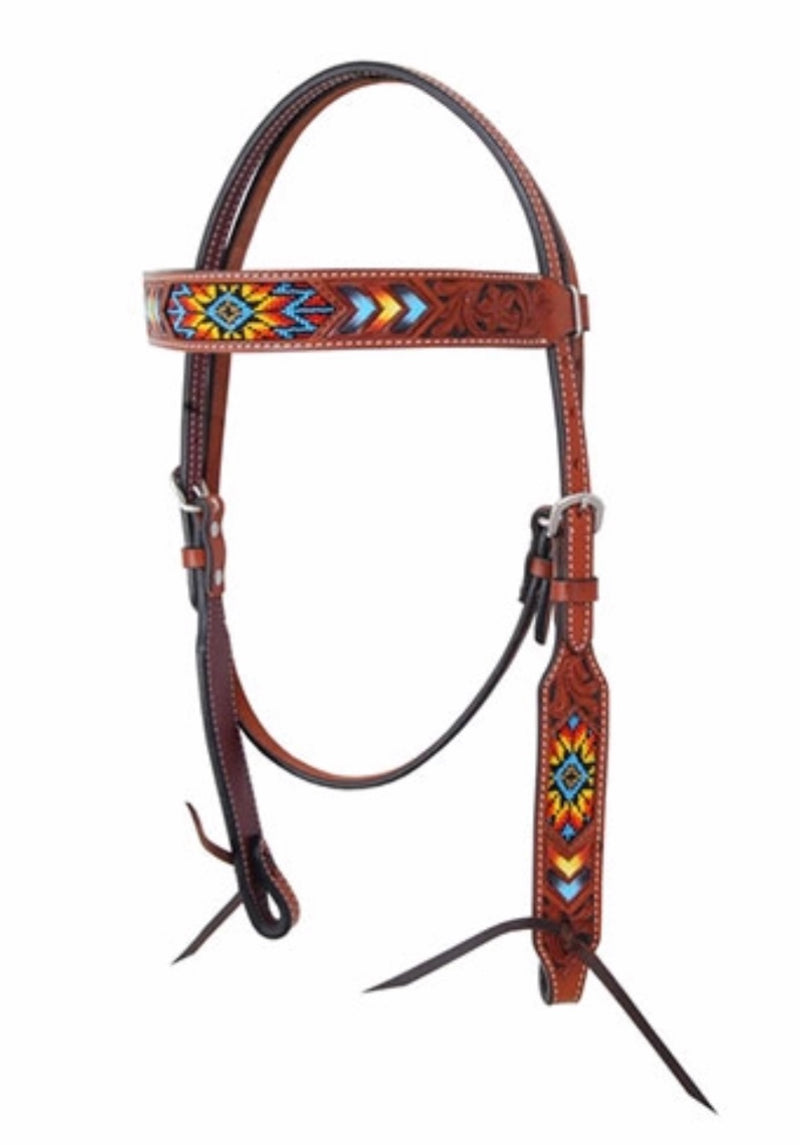 Bar H Equine Indian Sunburst Beaded Browband Headstall
