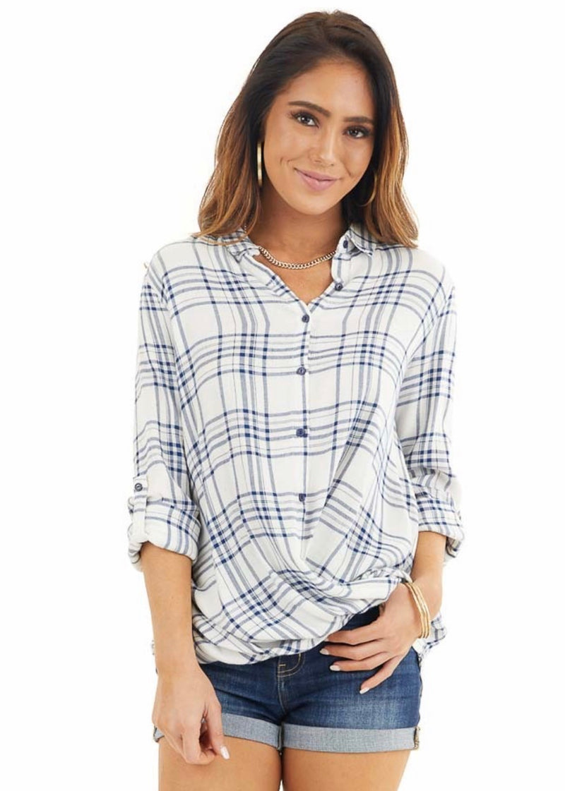 Doe and Rae Alluring Button Wrap Top*