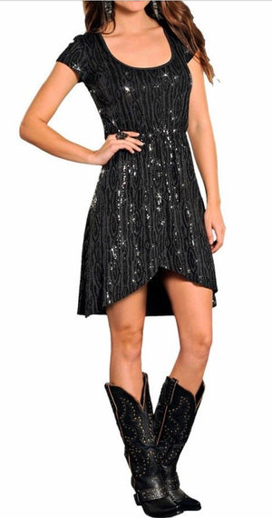 Cap Sleeve Dress with Sequins