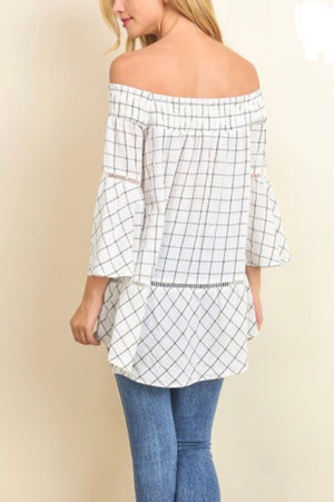 Doe & Rae Plaid off Shoulder Tunic*