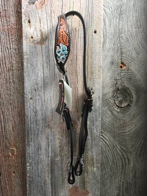 Bar H Single Ear Headstall Floral Carving*