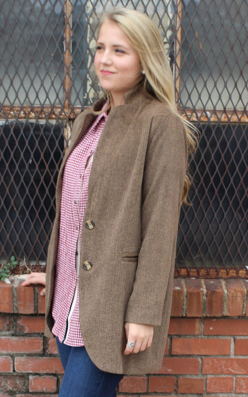 Brown Herringbone Blazer *