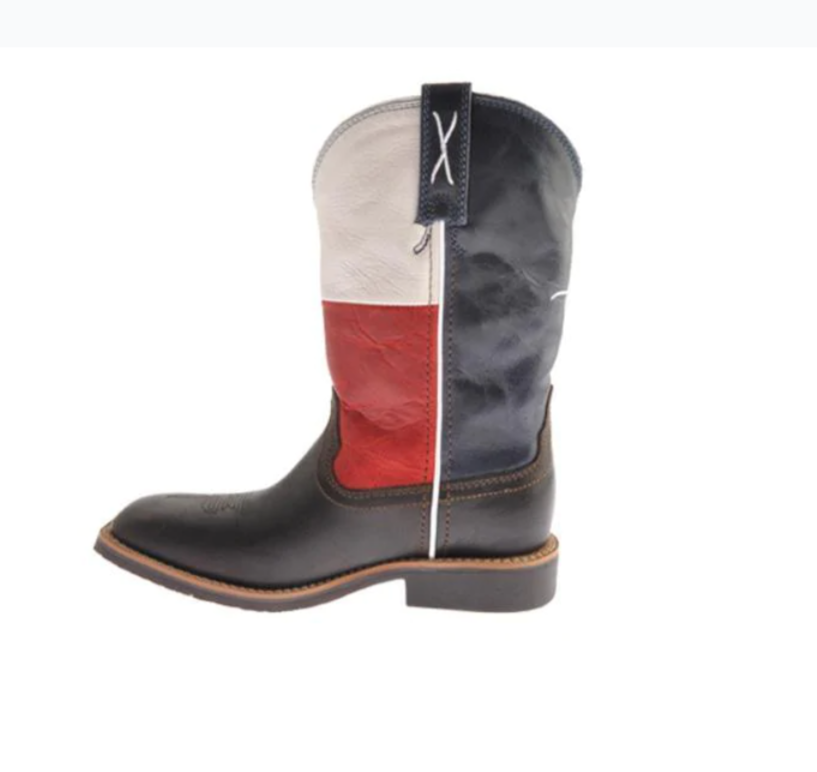 Children's Twisted X Boots YCW0007 Chocolate/Texas Flag Leather*