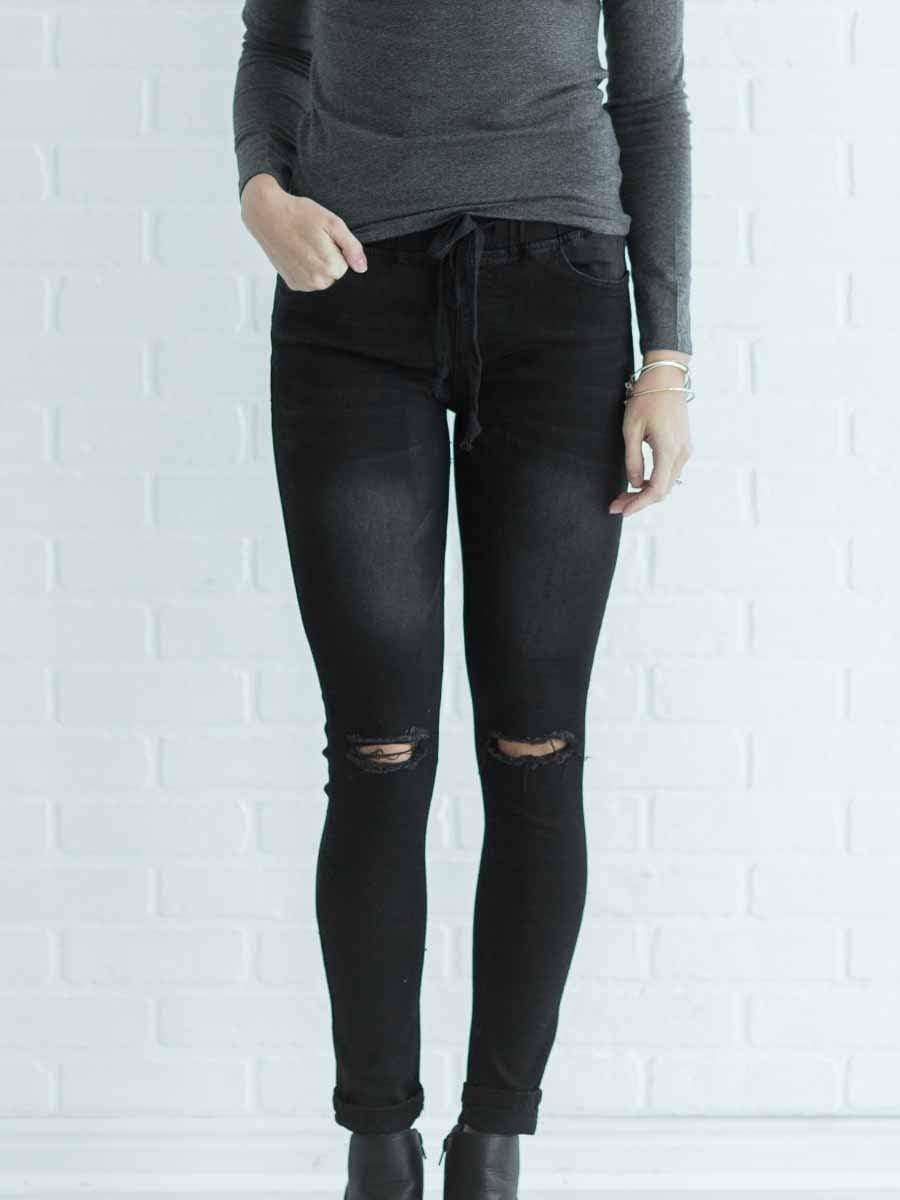 Lace Up Drawstring Hole Jeans
