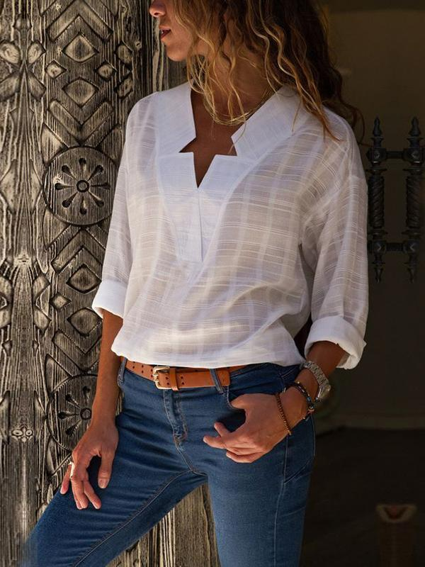 Irregular Solid Plaid Blouse