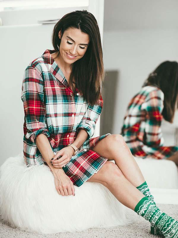 Woman's Cozy Red/Green Plaid Christmas Dress