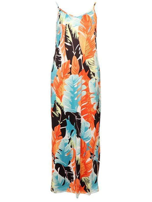 Colours Feather Printing Slip Dress