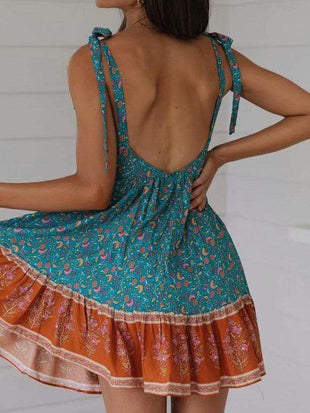 Printing Backless  Chalaza Dress