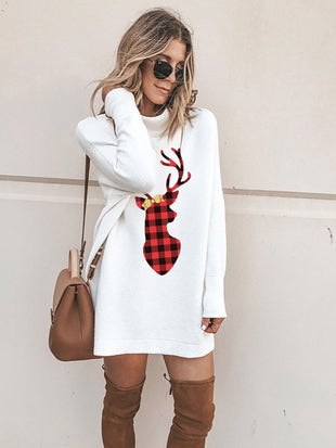 Buffalo Plaid Christmas Deer Dress