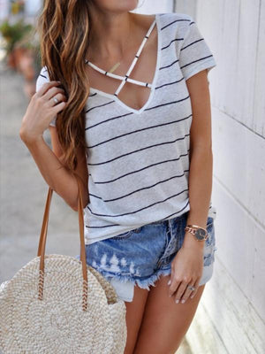 Casual Cross Stripe Short Sleeve T-shirt