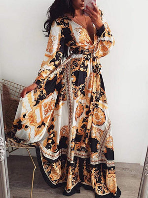 Deep V Neck Printing Long Dress