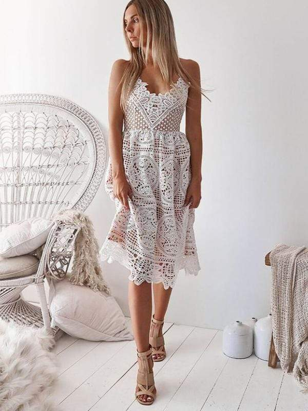 Sexy  Lace Backless  Slip Dress