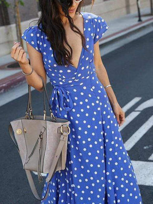 Polka Dot V-Neck Front Vent Dress-Maxi Dress-livyluvy.com