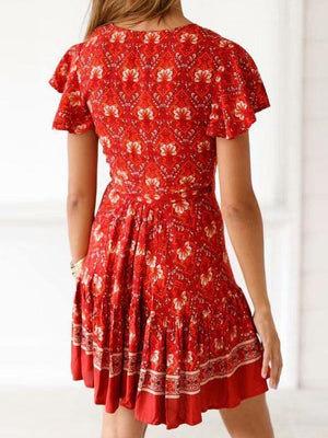 printing  V neck short sleeve dress