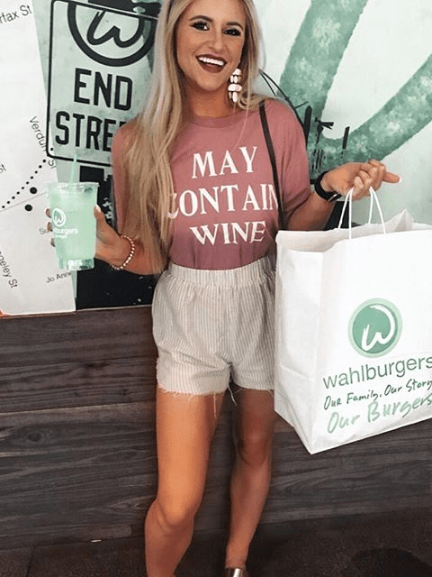 May Contain Wine Letter T-shirt