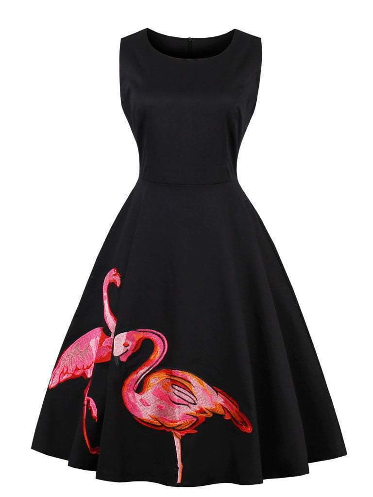 Flamingo Embroidered Dress