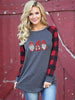 Women's Christmas Print Plaid Top