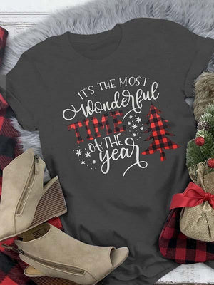 Ladies Christmas Tree Round Neck Short Sleeve T-Shirt
