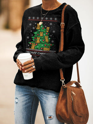 Meowy Christmas Tree Cat Sweatshirt