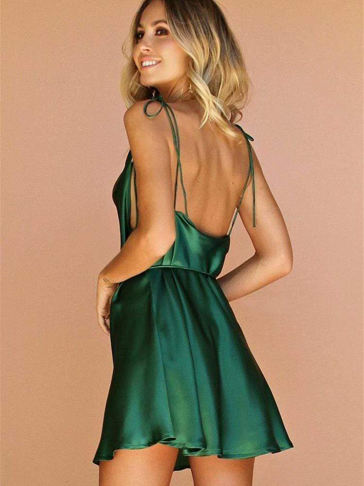 Dark Green Sexy Backless Chalaza  Dress