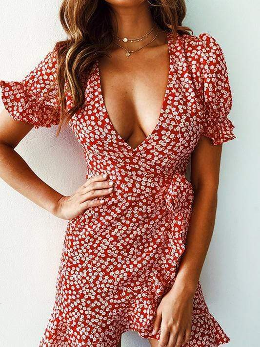short sleeve sexy flower Slim dress