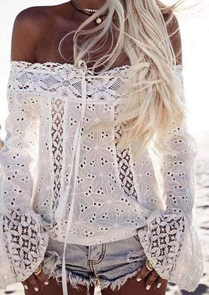 Solid White Off-shoulder Fringe Lace Stitching Blouse-Blouse-livyluvy.com