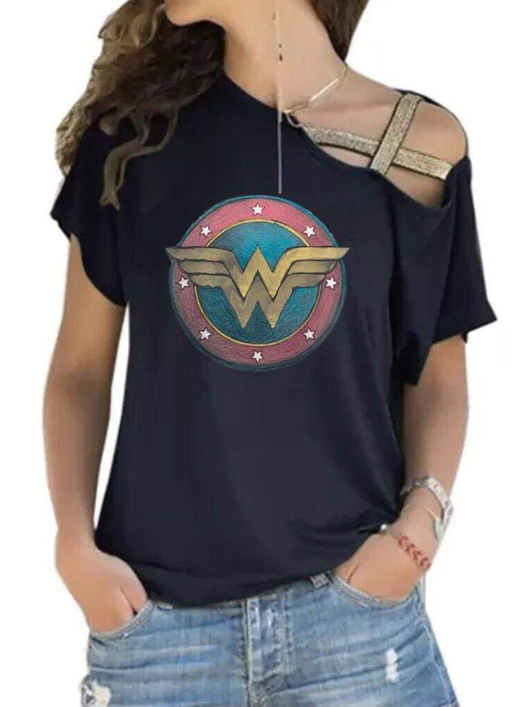 venuslike.com T-shirts black / S Wonder Woman Off-The-ShoulderT-shirt