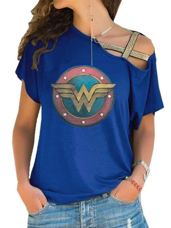 venuslike.com T-shirts Blue / S Wonder Woman Off-The-ShoulderT-shirt