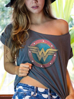 venuslike.com T-shirts Grey / S Wonder Woman printing off-the-shoulder TEE