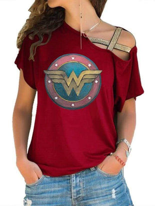 venuslike.com T-shirts Red / S Wonder Woman Off-The-ShoulderT-shirt