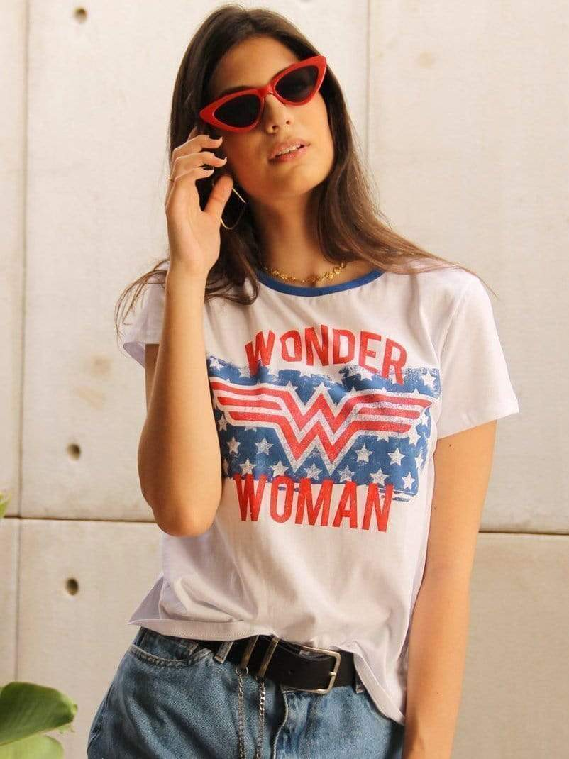 venuslike.com T-shirts White / S Wonder Woman flag star short sleeve T-shirt TOPS