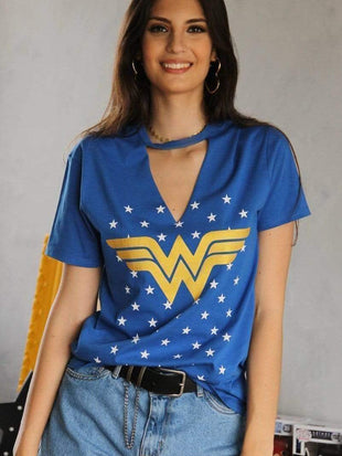 venuslike.com T-shirts Wonder Woman blue T-shirt TOPS