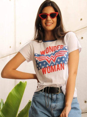 venuslike.com T-shirts Wonder Woman flag star short sleeve T-shirt TOPS