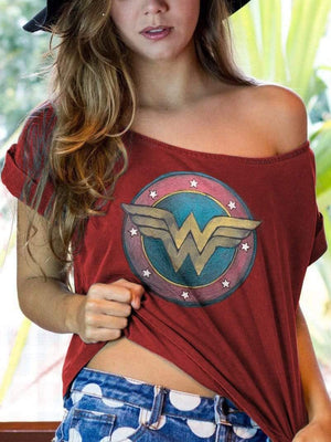 venuslike.com T-shirts Wonder Woman printing off-the-shoulder TEE