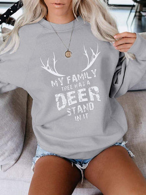venuslike T-SHIRTS Women's My Family Tree Has A Deer Stand In It. Casual Round Neck Sweatshirt