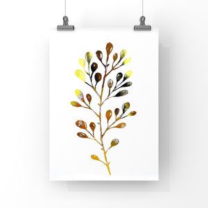 Leaf Print, Gold Foil Print, nature botanical wall art, home decor, modern wall art.