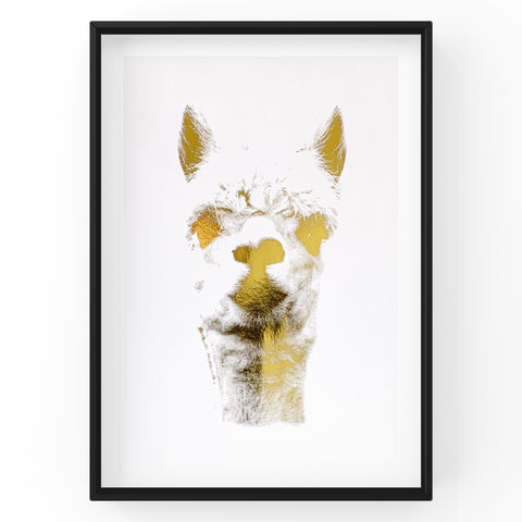 Llama Farm Animal Wall Art Foil Prints