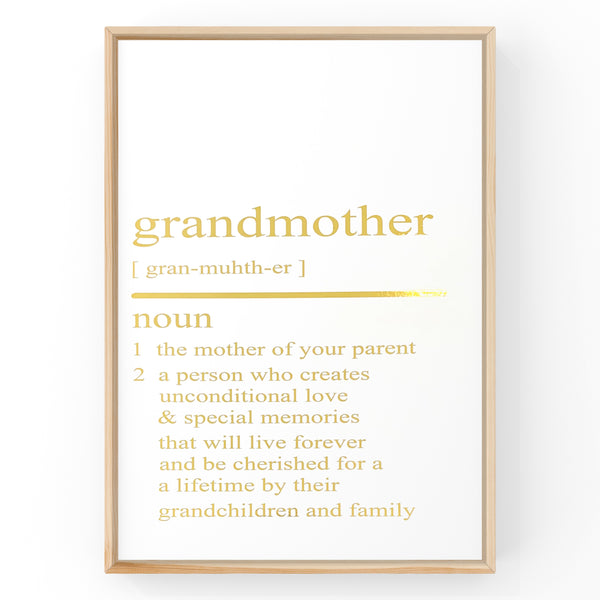 Grandmother Dictionary Definition Print | Home Decor | Wall Art | Foil Prints