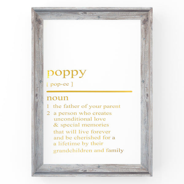 Poppy Dictionary Definition Print | Home Decor | Wall Art | Foil Prints