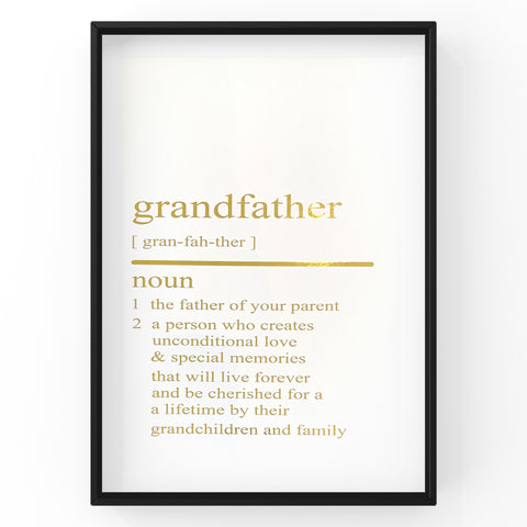 Grandfather Dictionary Definition Print | Home Decor | Wall Art | Foil Prints