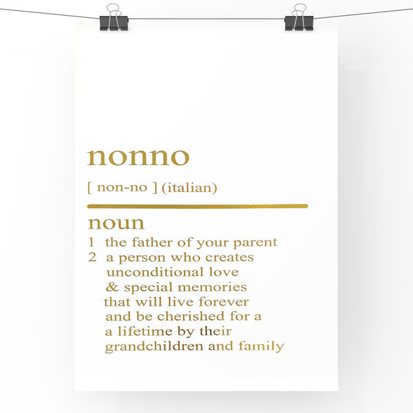 Nonno Dictionary Definition Print | Home Decor | Wall Art | Foil Prints