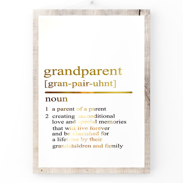 Grandparent Dictionary Definition | Home Decor | Wall Art | Foil Prints