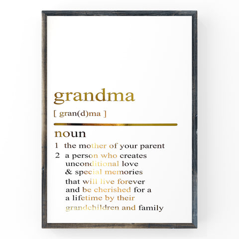 Grandma Dictionary Definition Print | Home Decor | Wall Art | Foil Prints