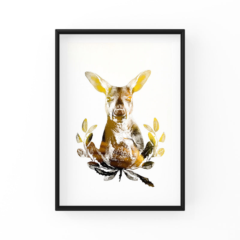 Gold Foil Print: Kangaroo print made in Australia, home decor, modern wall art, typography print, quote prints.