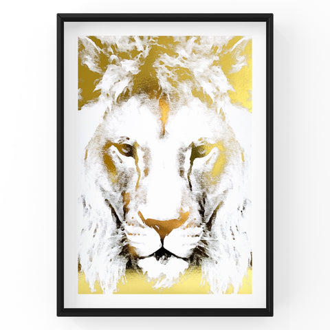 Lion Face Safari Animal Foil Print